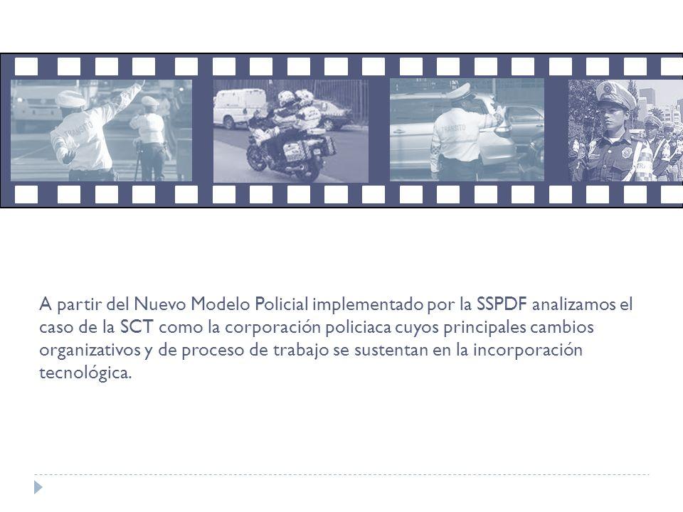 Agente de Tránsito Proceso de Trabajo / Espacio laboral SSPDF Incidencia de los mecanismos de control en el PT sobre la experiencia laboral NMP (+ fiscalización) Cambios en la organización Incorporación tecnológica Se analiza el proceso y el espacio de trabajo de los policías de tránsito de la SSP-DF a la luz del NMP.