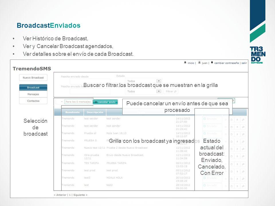 BroadcastEnviados Ver Histórico de Broadcast, Ver y Cancelar Broadcast agendados, Ver detalles sobre el envío de cada Broadcast.