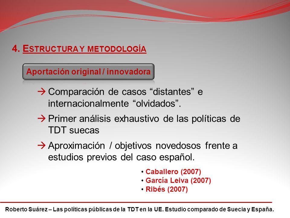 Roberto Suárez – Las políticas públicas de la TDT en la UE. Estudio comparado de Suecia y España. 4. E STRUCTURA Y METODOLOGÍA Comparación de casos di