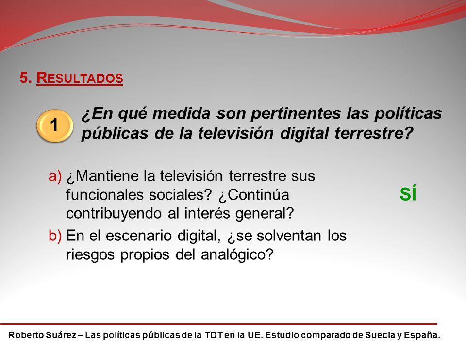 Roberto Suárez – Las políticas públicas de la TDT en la UE. Estudio comparado de Suecia y España. 5. R ESULTADOS 1 ¿En qué medida son pertinentes las