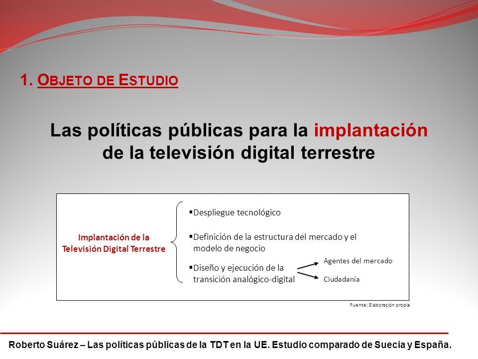 Roberto Suárez – Las políticas públicas de la TDT en la UE. Estudio comparado de Suecia y España. 1. O BJETO DE E STUDIO Las políticas públicas para l