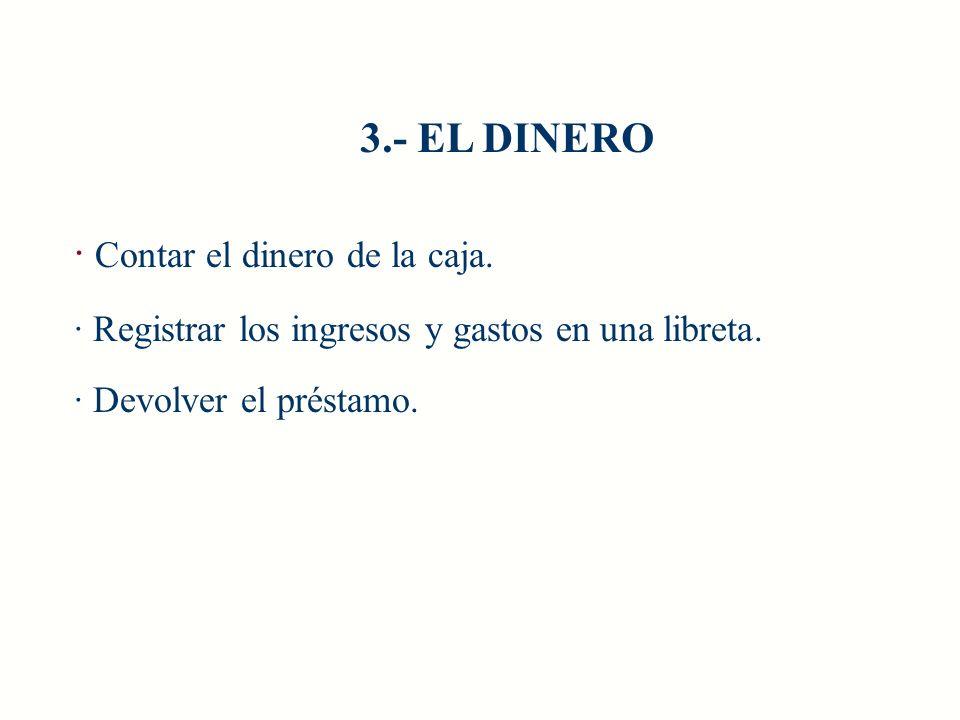 · Contar el dinero de la caja. · Registrar los ingresos y gastos en una libreta. · Devolver el préstamo. 3.- EL DINERO