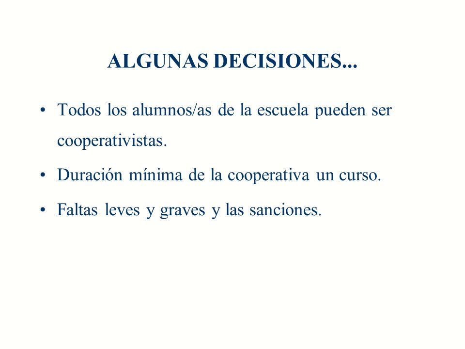 ALGUNAS DECISIONES...Todos los alumnos/as de la escuela pueden ser cooperativistas.