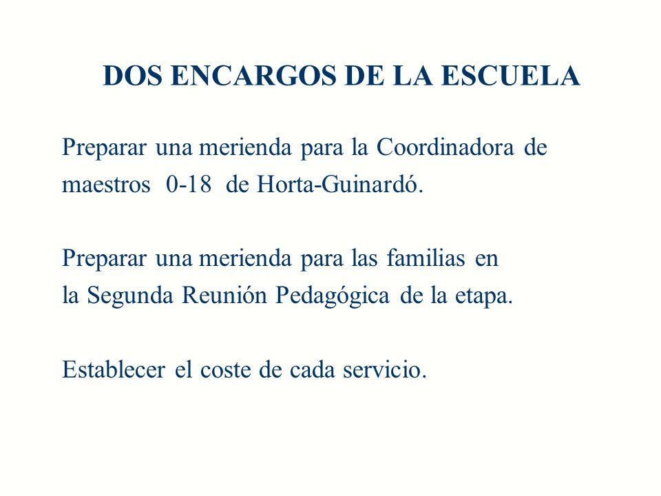 DOS ENCARGOS DE LA ESCUELA Preparar una merienda para la Coordinadora de maestros 0-18 de Horta-Guinardó.