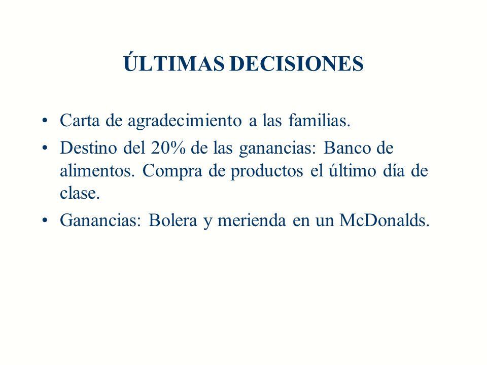 ÚLTIMAS DECISIONES Carta de agradecimiento a las familias. Destino del 20% de las ganancias: Banco de alimentos. Compra de productos el último día de