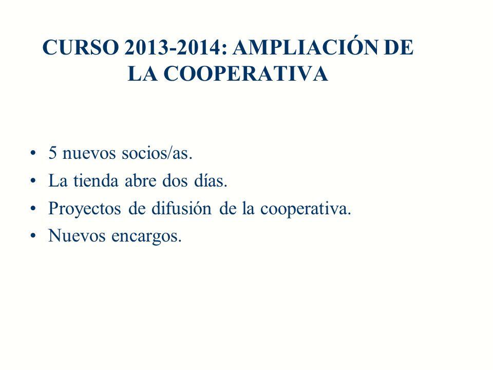 CURSO 2013-2014: AMPLIACIÓN DE LA COOPERATIVA 5 nuevos socios/as. La tienda abre dos días. Proyectos de difusión de la cooperativa. Nuevos encargos.