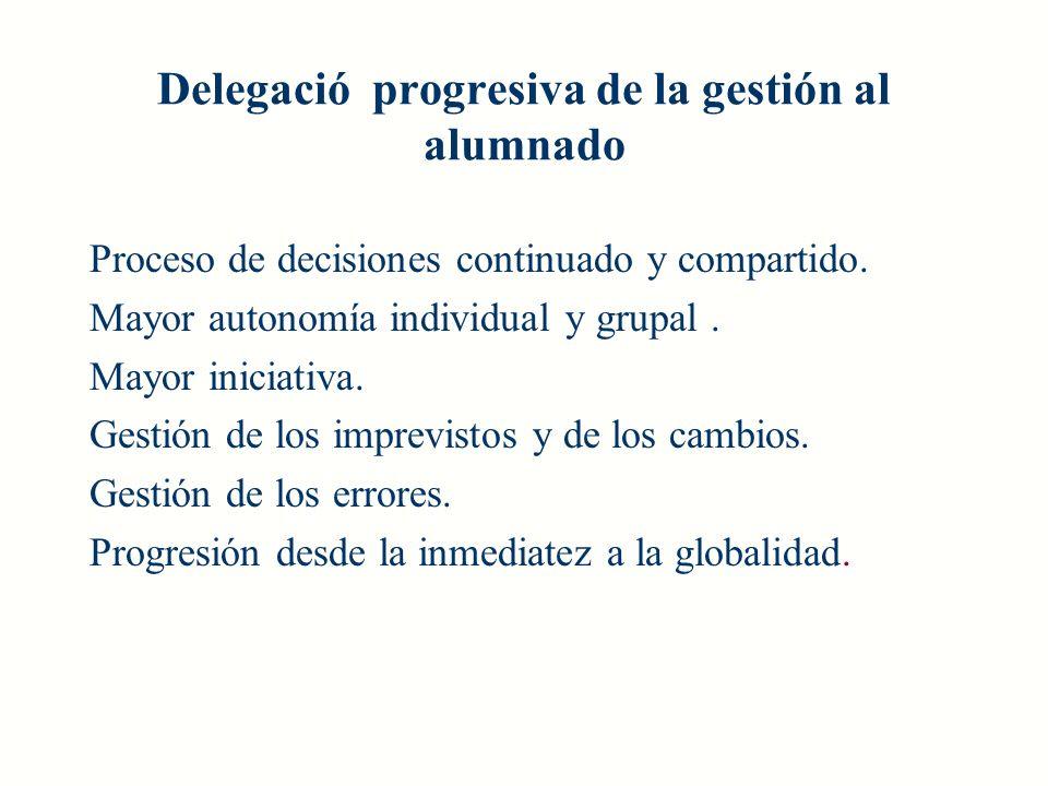 Delegació progresiva de la gestión al alumnado Proceso de decisiones continuado y compartido. Mayor autonomía individual y grupal. Mayor iniciativa. G