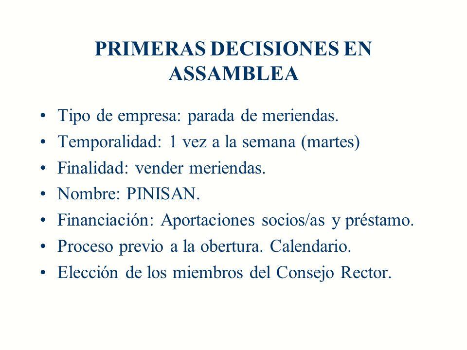 PRIMERAS DECISIONES EN ASSAMBLEA Tipo de empresa: parada de meriendas.