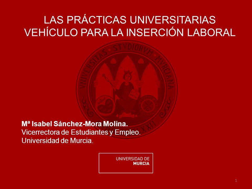 1 LAS PRÁCTICAS UNIVERSITARIAS VEHÍCULO PARA LA INSERCIÓN LABORAL Mª Isabel Sánchez-Mora Molina.
