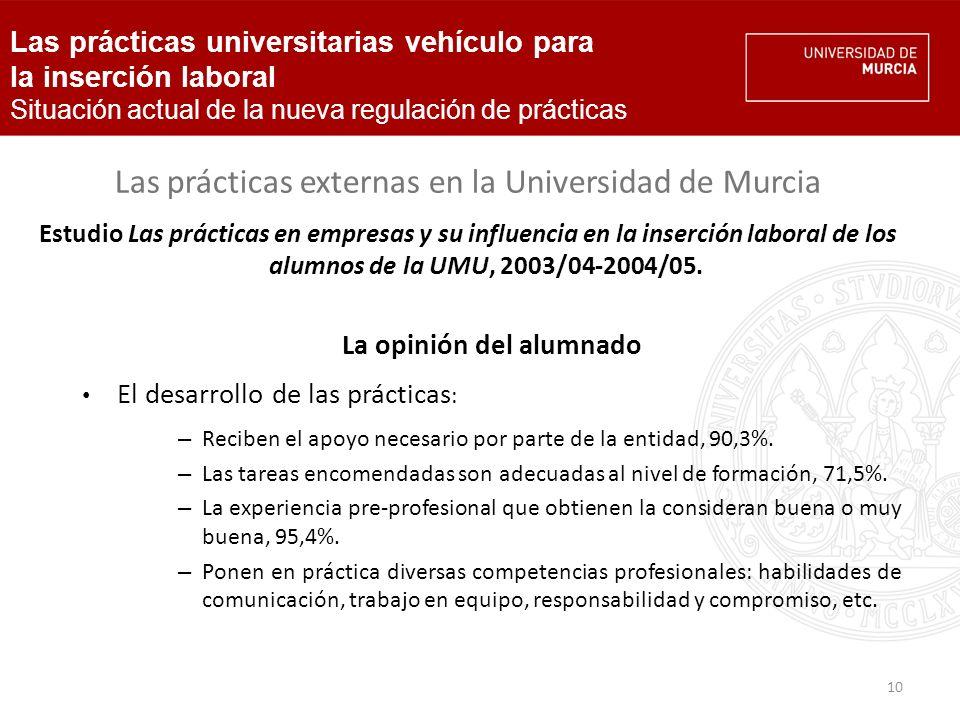 10 Las prácticas externas en la Universidad de Murcia Estudio Las prácticas en empresas y su influencia en la inserción laboral de los alumnos de la UMU, 2003/04-2004/05.