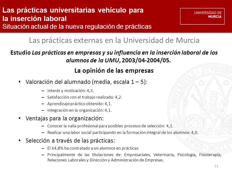 11 Las prácticas externas en la Universidad de Murcia Estudio Las prácticas en empresas y su influencia en la inserción laboral de los alumnos de la UMU, 2003/04-2004/05.