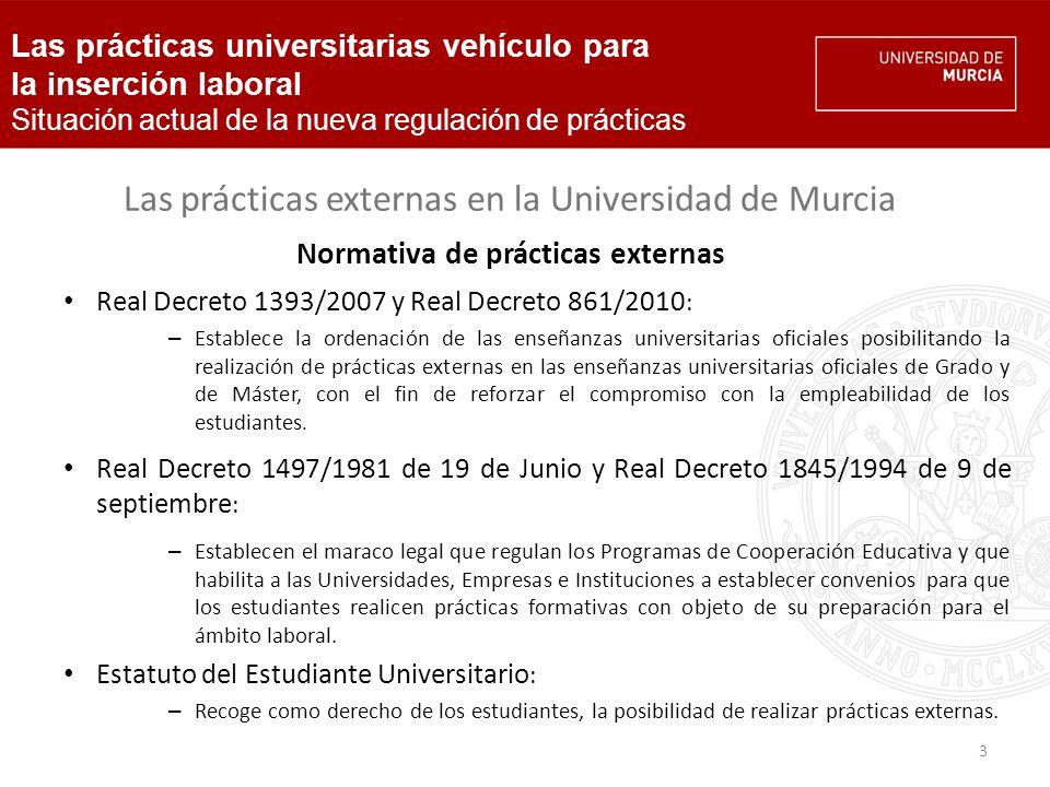 4 Las prácticas externas en la Universidad de Murcia Normativa de prácticas externas de la UMU Normativa sobre prácticas externas de los estudiantes de la Universidad de Murcia (Consejo de Gobierno, 24/06/08): Adaptación del marco legal existente al EEES.