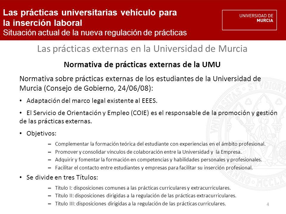 5 Las prácticas externas en la Universidad de Murcia Prácticas curriculares – Servicio responsable: Facultades y Servicio de Orientación y Empleo (COIE).
