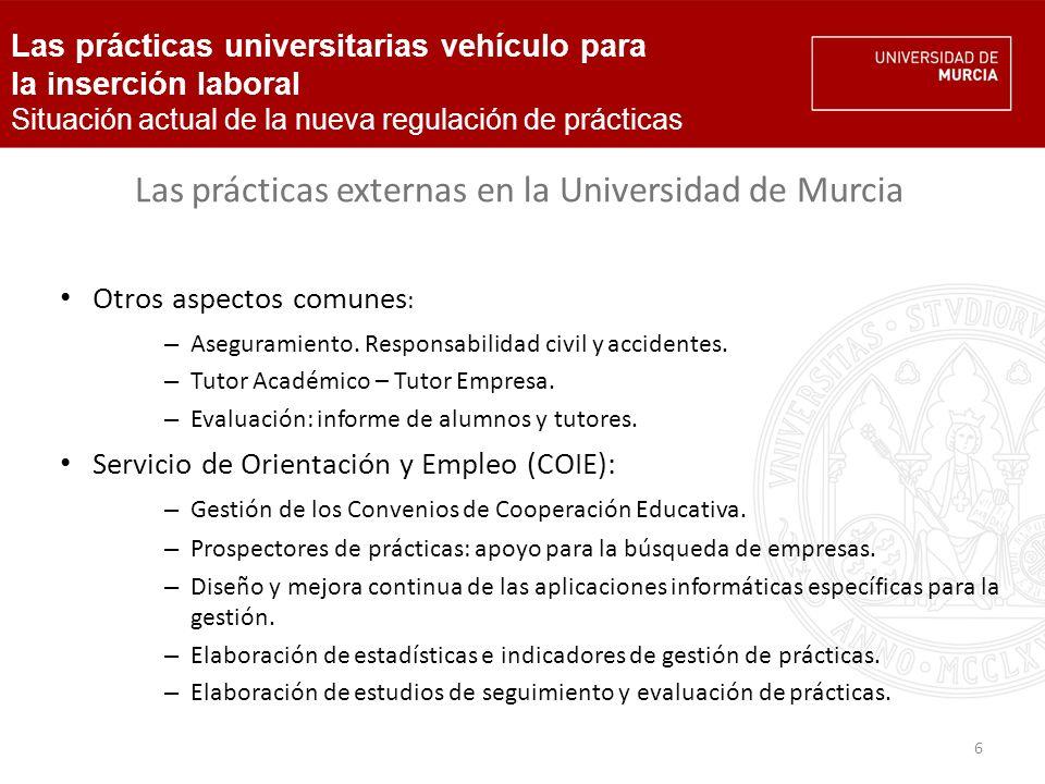 7 Las prácticas externas en la Universidad de Murcia Datos de gestión 2009/10.