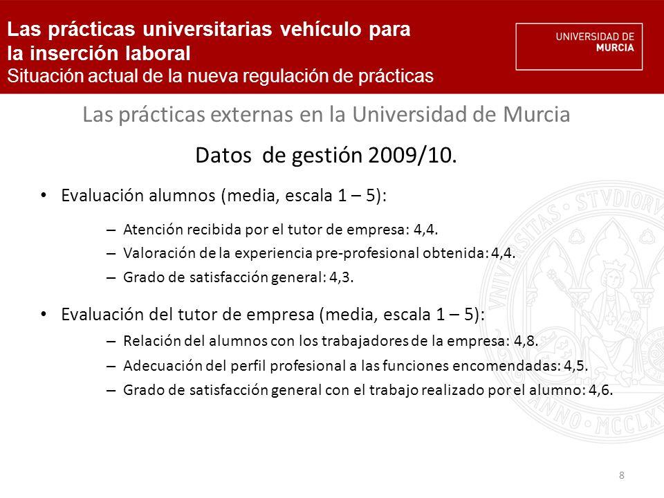 8 Las prácticas externas en la Universidad de Murcia Datos de gestión 2009/10.