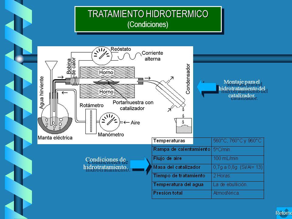TRATAMIENTO HIDROTERMICO (Condiciones) TRATAMIENTO HIDROTERMICO (Condiciones) Montaje para el hidrotratamiento del catalizador. Condiciones de hidrotr