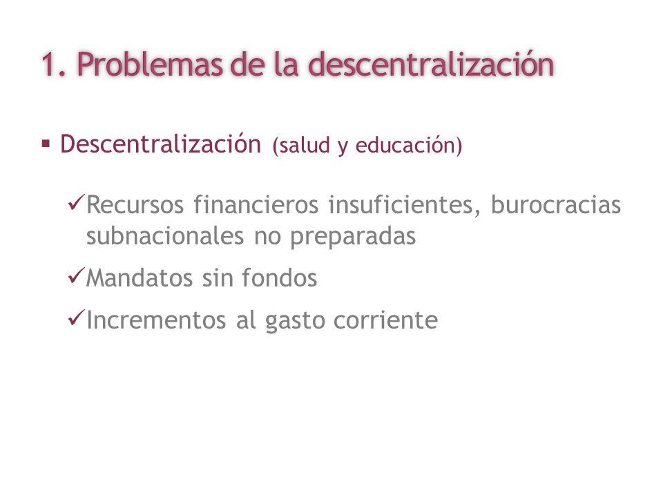 Descentralización (salud y educación) Recursos financieros insuficientes, burocracias subnacionales no preparadas Mandatos sin fondos Incrementos al g