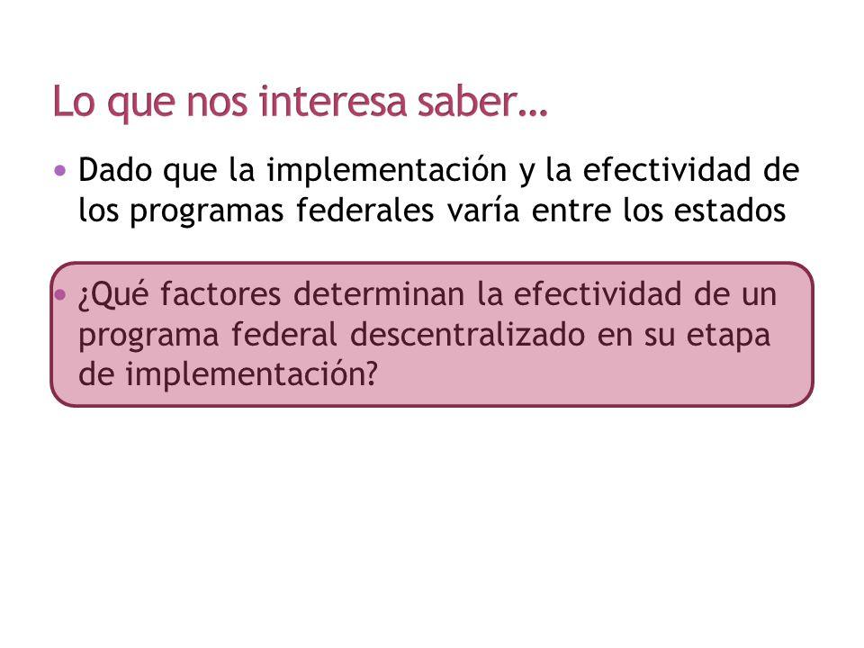 Dado que la implementación y la efectividad de los programas federales varía entre los estados ¿Qué factores determinan la efectividad de un programa