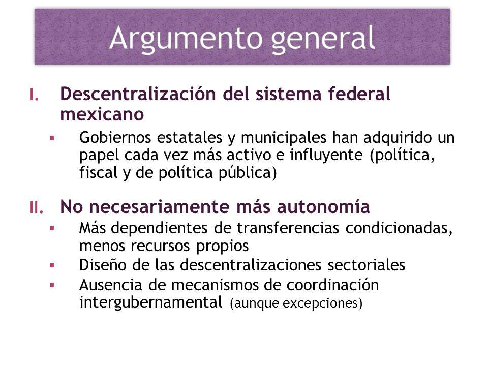 I. Descentralización del sistema federal mexicano Gobiernos estatales y municipales han adquirido un papel cada vez más activo e influyente (política,