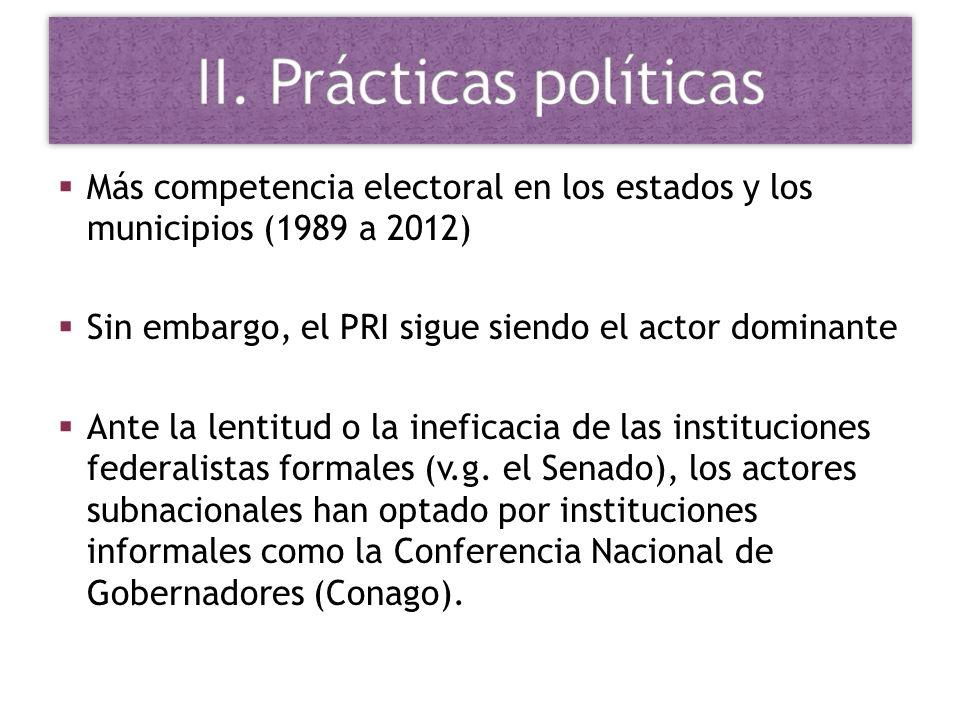 Más competencia electoral en los estados y los municipios (1989 a 2012) Sin embargo, el PRI sigue siendo el actor dominante Ante la lentitud o la inef