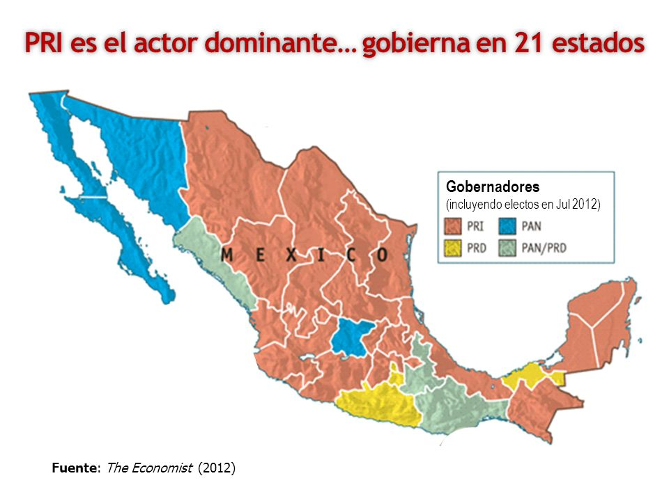 Gobernadores (incluyendo electos en Jul 2012) Fuente: The Economist (2012)