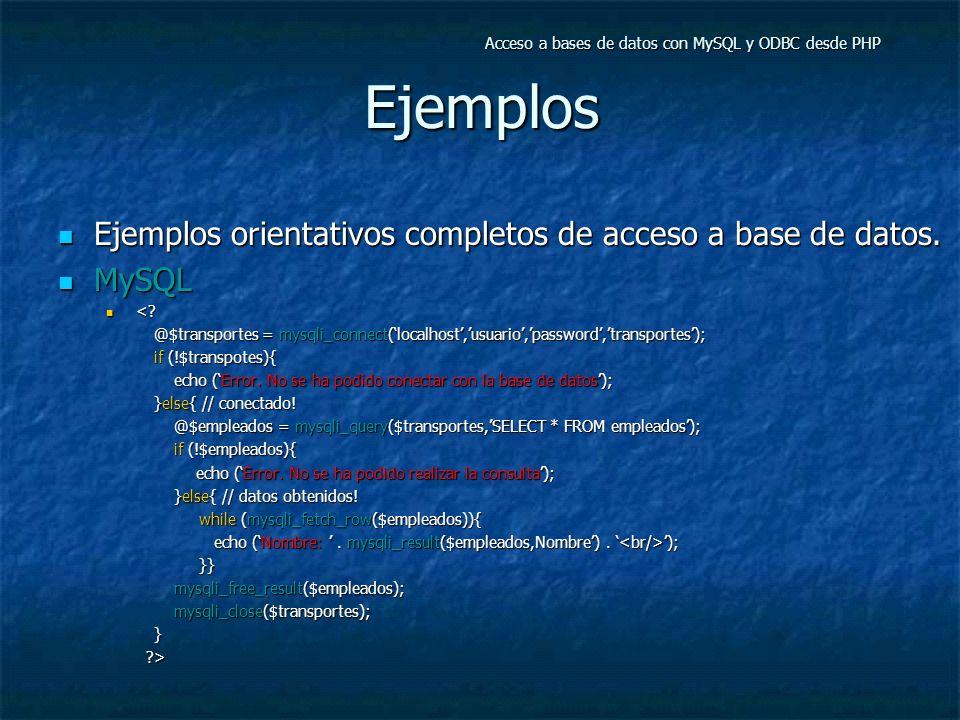 Ejemplos Ejemplos orientativos completos de acceso a base de datos.