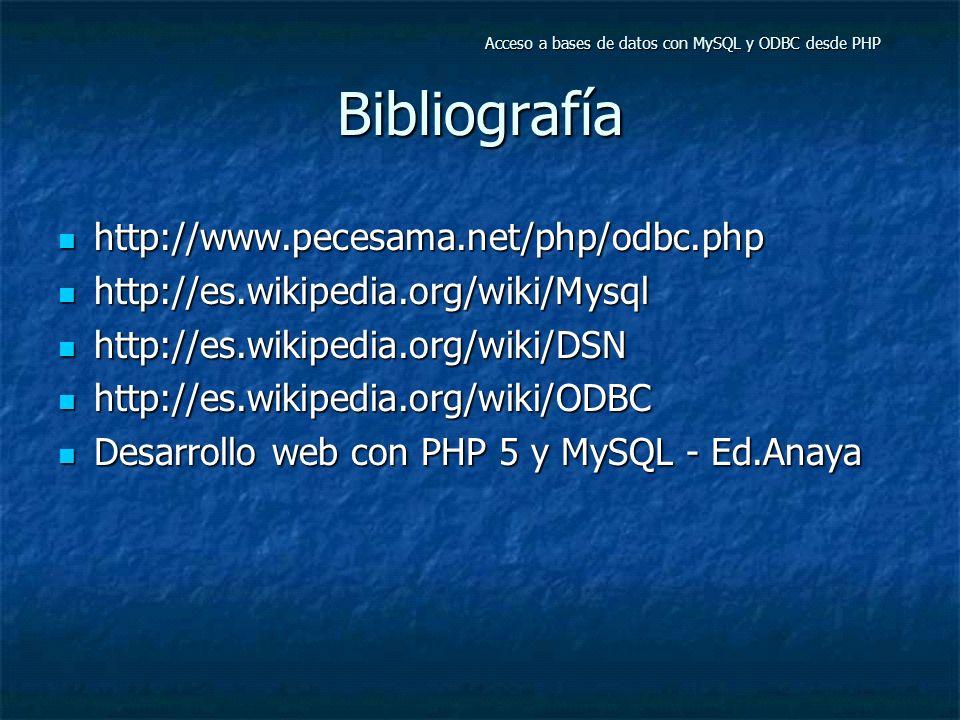 Bibliografía http://www.pecesama.net/php/odbc.php http://www.pecesama.net/php/odbc.php http://es.wikipedia.org/wiki/Mysql http://es.wikipedia.org/wiki/Mysql http://es.wikipedia.org/wiki/DSN http://es.wikipedia.org/wiki/DSN http://es.wikipedia.org/wiki/ODBC http://es.wikipedia.org/wiki/ODBC Desarrollo web con PHP 5 y MySQL - Ed.Anaya Desarrollo web con PHP 5 y MySQL - Ed.Anaya Acceso a bases de datos con MySQL y ODBC desde PHP
