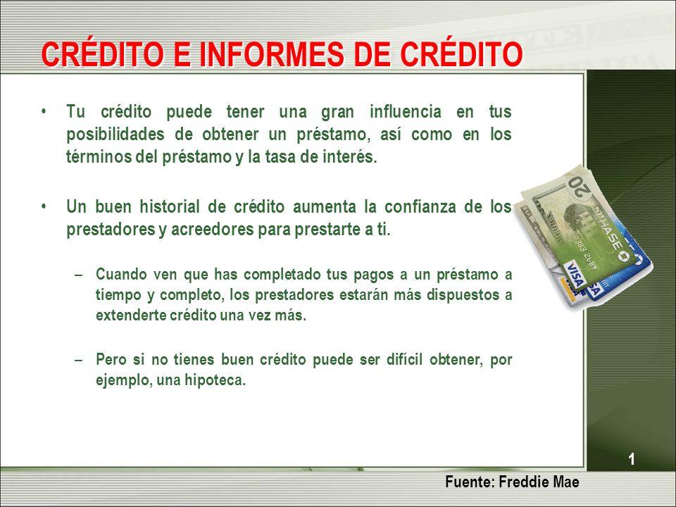 1 CRÉDITO E INFORMES DE CRÉDITO Tu crédito puede tener una gran influencia en tus posibilidades de obtener un préstamo, así como en los términos del préstamo y la tasa de interés.