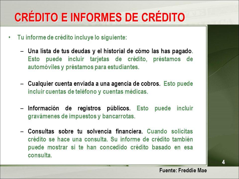 4 CRÉDITO E INFORMES DE CRÉDITO Tu informe de crédito incluye lo siguiente: – Una lista de tus deudas y el historial de cómo las has pagado.