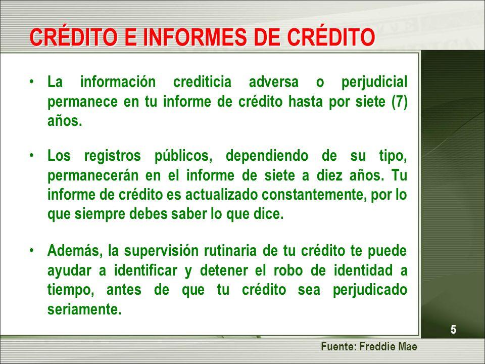 5 CRÉDITO E INFORMES DE CRÉDITO La información crediticia adversa o perjudicial permanece en tu informe de crédito hasta por siete (7) años. Los regis