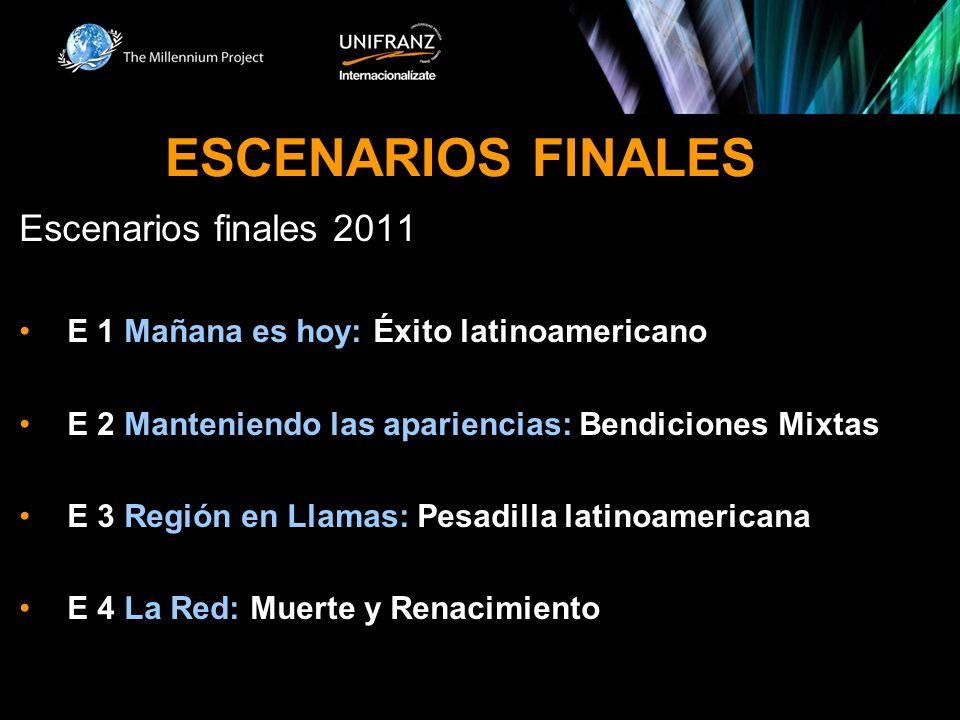 ESCENARIOS FINALES Escenarios finales 2011 E 1 Mañana es hoy: Éxito latinoamericano E 2 Manteniendo las apariencias: Bendiciones Mixtas E 3 Región en
