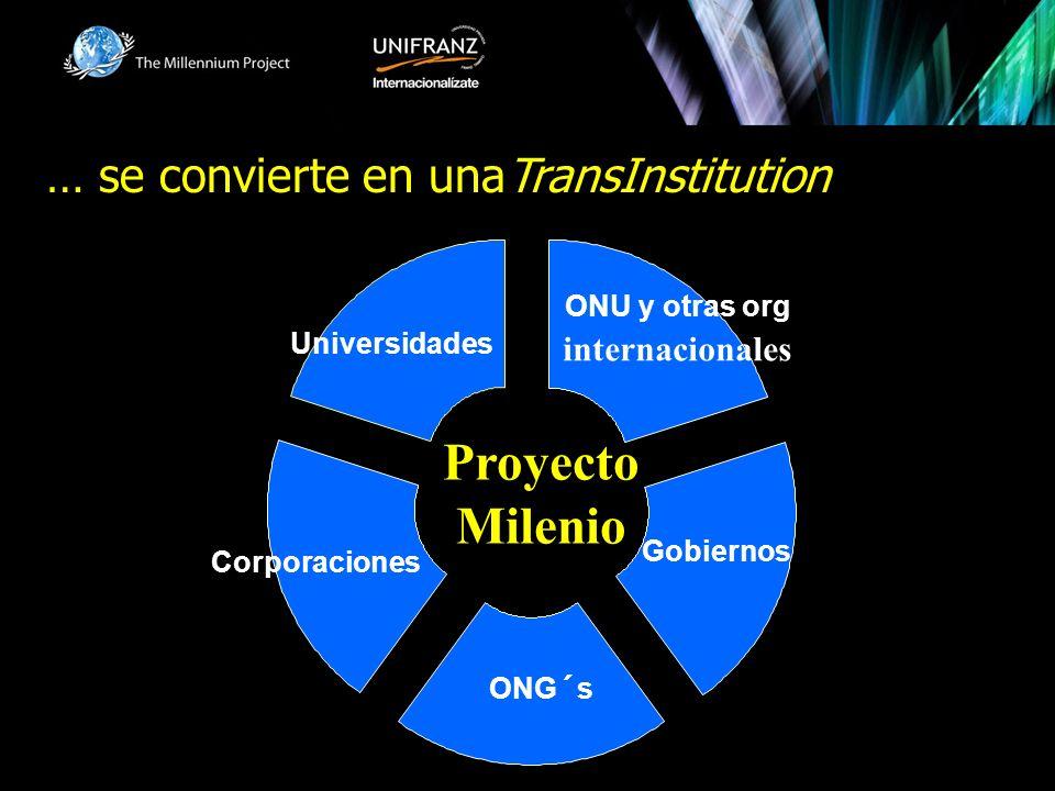ONU y otras org internacionales ONG´s Universidades Gobiernos Corporaciones Proyecto Milenio … se convierte en unaTransInstitution
