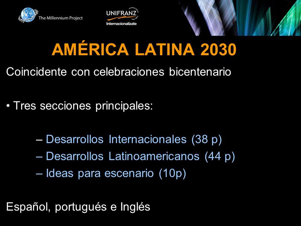 AMÉRICA LATINA 2030 Coincidente con celebraciones bicentenario Tres secciones principales: – Desarrollos Internacionales (38 p) – Desarrollos Latinoamericanos (44 p) – Ideas para escenario (10p) Español, portugués e Inglés