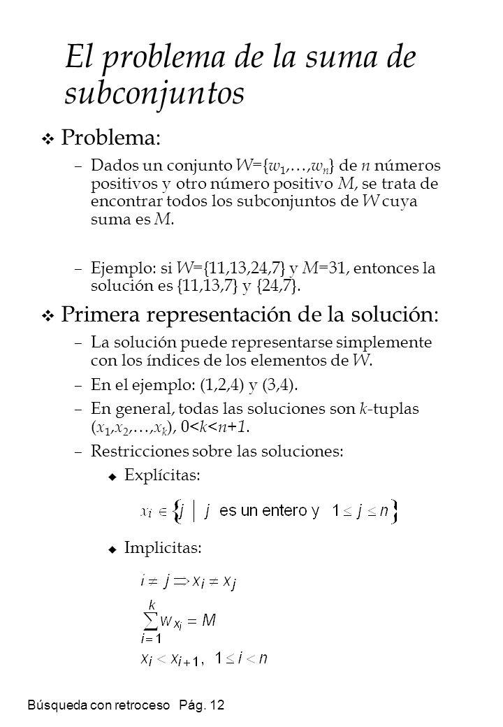 Búsqueda con retroceso Pág. 12 El problema de la suma de subconjuntos Problema: –Dados un conjunto W ={ w 1,…, w n } de n números positivos y otro núm