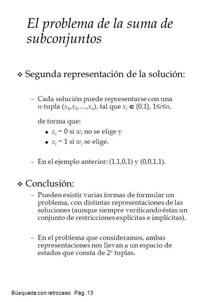 Búsqueda con retroceso Pág. 13 Segunda representación de la solución: –Cada solución puede representarse con una n -tupla ( x 1, x 2,…, x n ), tal que