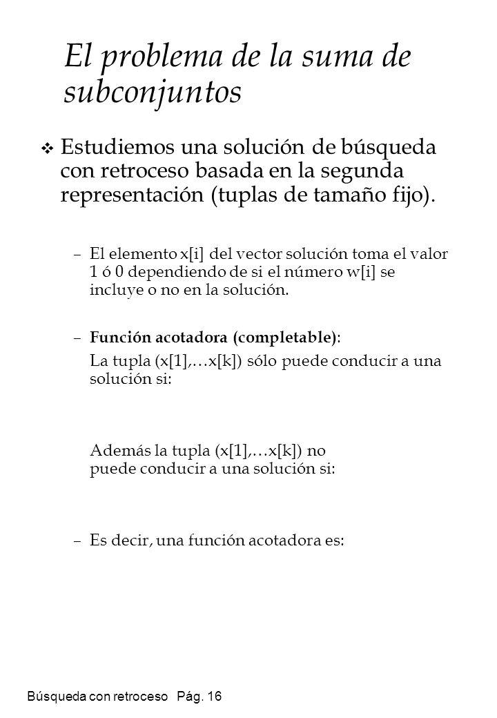 Búsqueda con retroceso Pág. 16 Estudiemos una solución de búsqueda con retroceso basada en la segunda representación (tuplas de tamaño fijo). –El elem