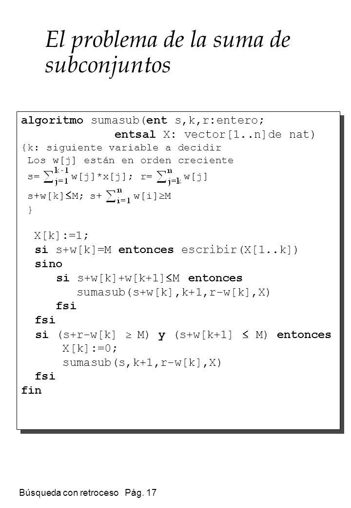 Búsqueda con retroceso Pág. 17 El problema de la suma de subconjuntos algoritmo sumasub(ent s,k,r:entero; entsal X: vector[1..n]de nat) {k: siguiente