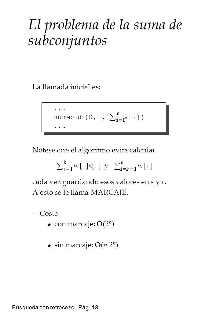 Búsqueda con retroceso Pág. 18 La llamada inicial es: Nótese que el algoritmo evita calcular cada vez guardando esos valores en s y r. A esto se le ll