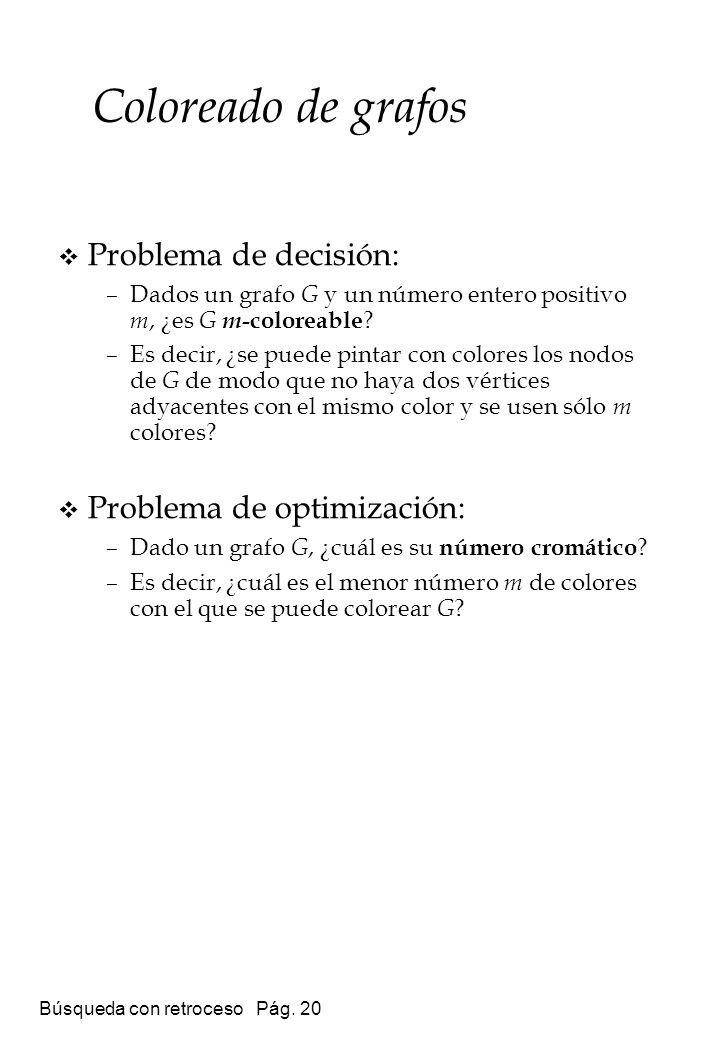Búsqueda con retroceso Pág. 20 Coloreado de grafos Problema de decisión: –Dados un grafo G y un número entero positivo m, ¿es G m -coloreable ? –Es de