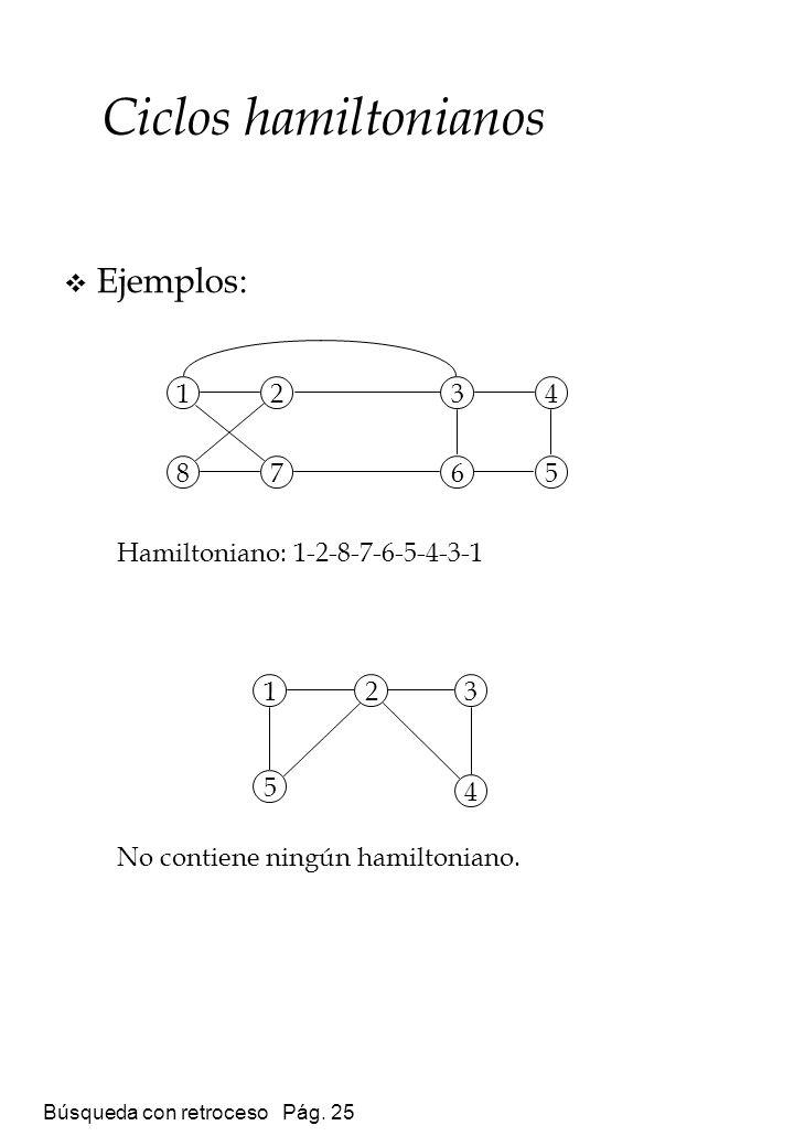 Búsqueda con retroceso Pág. 25 Ejemplos: Hamiltoniano: 1-2-8-7-6-5-4-3-1 No contiene ningún hamiltoniano. Ciclos hamiltonianos 8 1234 567 5 123 4