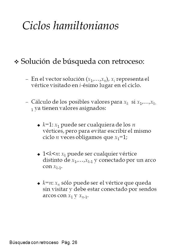Búsqueda con retroceso Pág. 26 Solución de búsqueda con retroceso: –En el vector solución ( x 1,…, x n ), x i representa el vértice visitado en i -ési