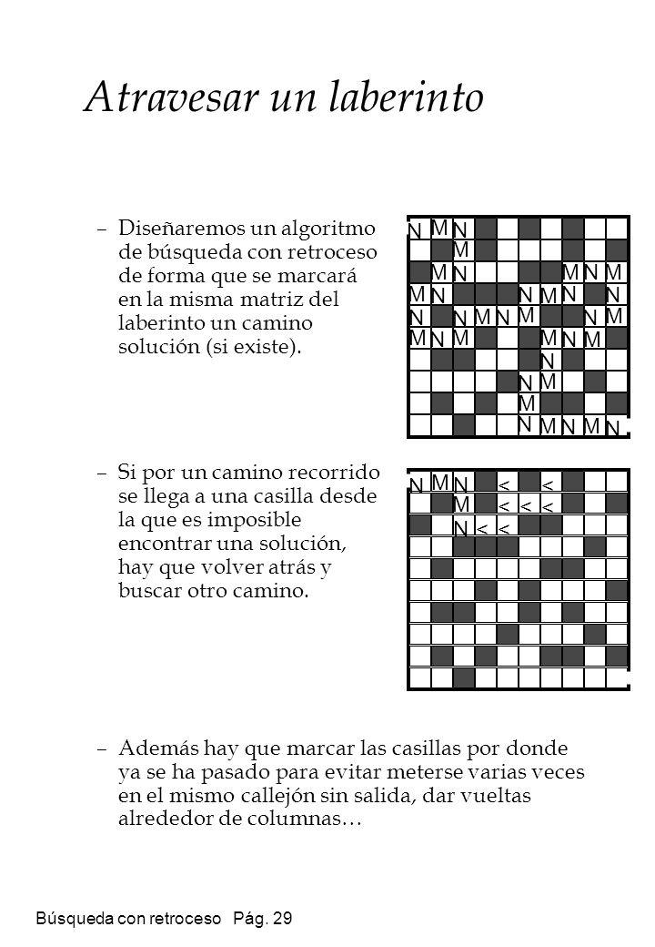 Búsqueda con retroceso Pág. 29 –Diseñaremos un algoritmo de búsqueda con retroceso de forma que se marcará en la misma matriz del laberinto un camino