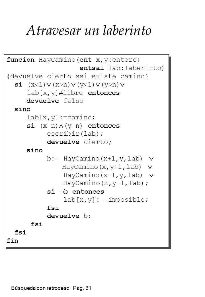 Búsqueda con retroceso Pág. 31 Atravesar un laberinto funcion HayCamino(ent x,y:entero; entsal lab:laberinto) {devuelve cierto ssi existe camino} si (