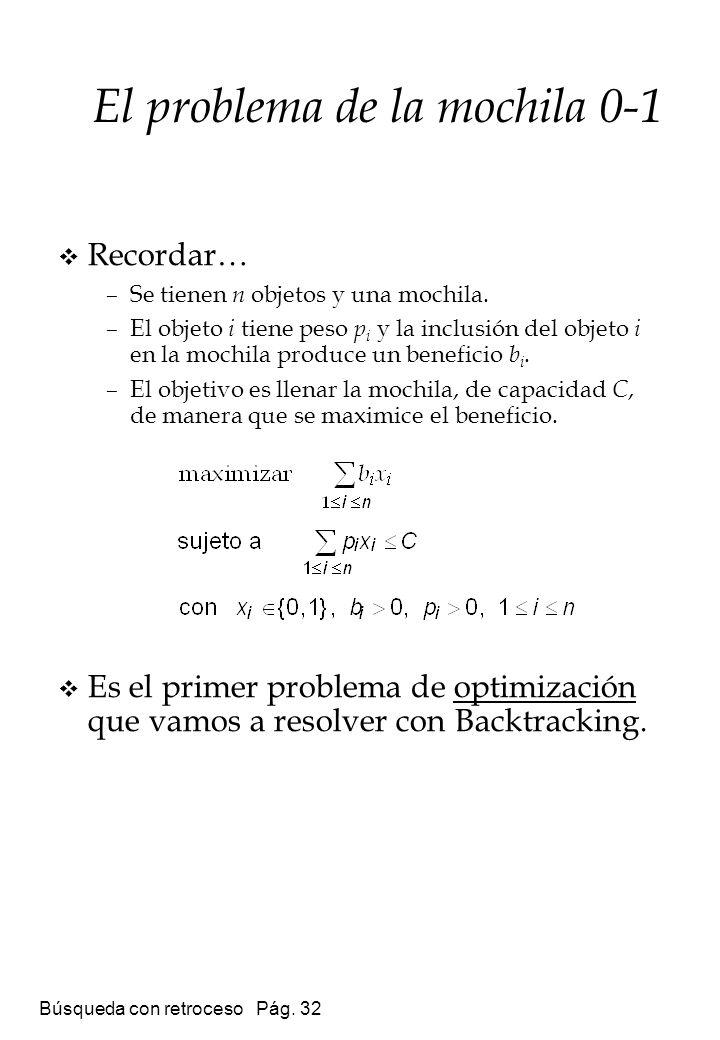 Búsqueda con retroceso Pág. 32 El problema de la mochila 0-1 Recordar… –Se tienen n objetos y una mochila. –El objeto i tiene peso p i y la inclusión