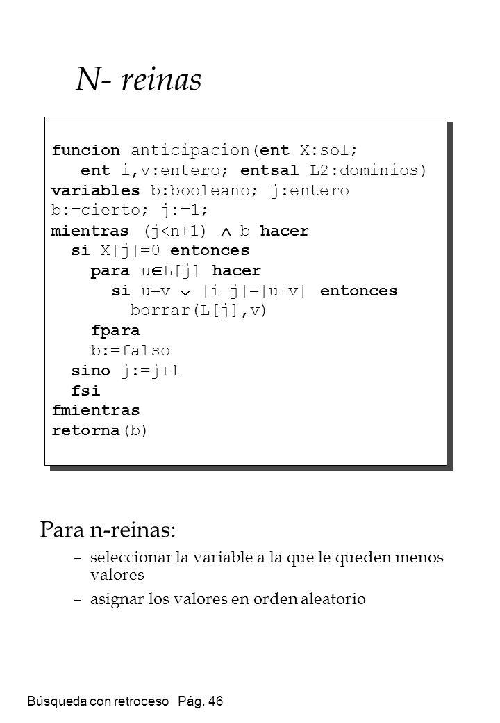 Búsqueda con retroceso Pág. 46 Para n-reinas: –seleccionar la variable a la que le queden menos valores –asignar los valores en orden aleatorio funcio