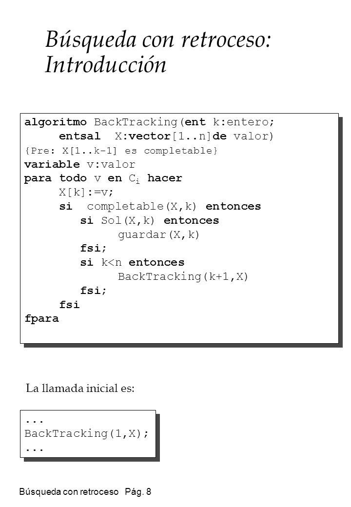 Búsqueda con retroceso Pág. 8 Búsqueda con retroceso: Introducción algoritmo BackTracking(ent k:entero; entsal X:vector[1..n]de valor) {Pre: X[1..k-1]
