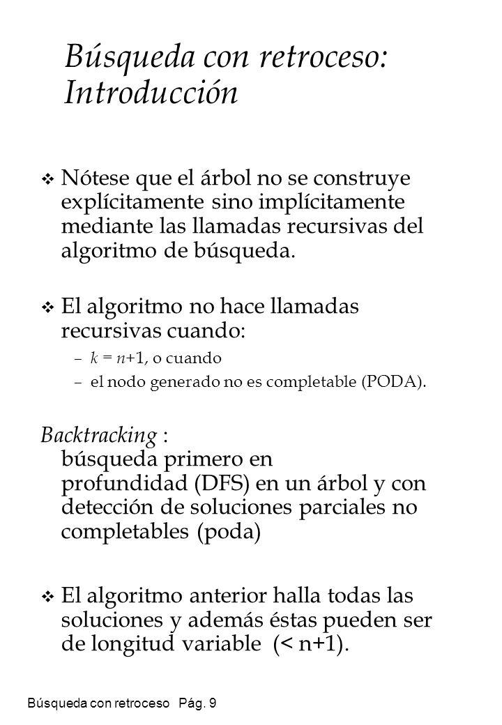 Búsqueda con retroceso Pág. 9 Nótese que el árbol no se construye explícitamente sino implícitamente mediante las llamadas recursivas del algoritmo de