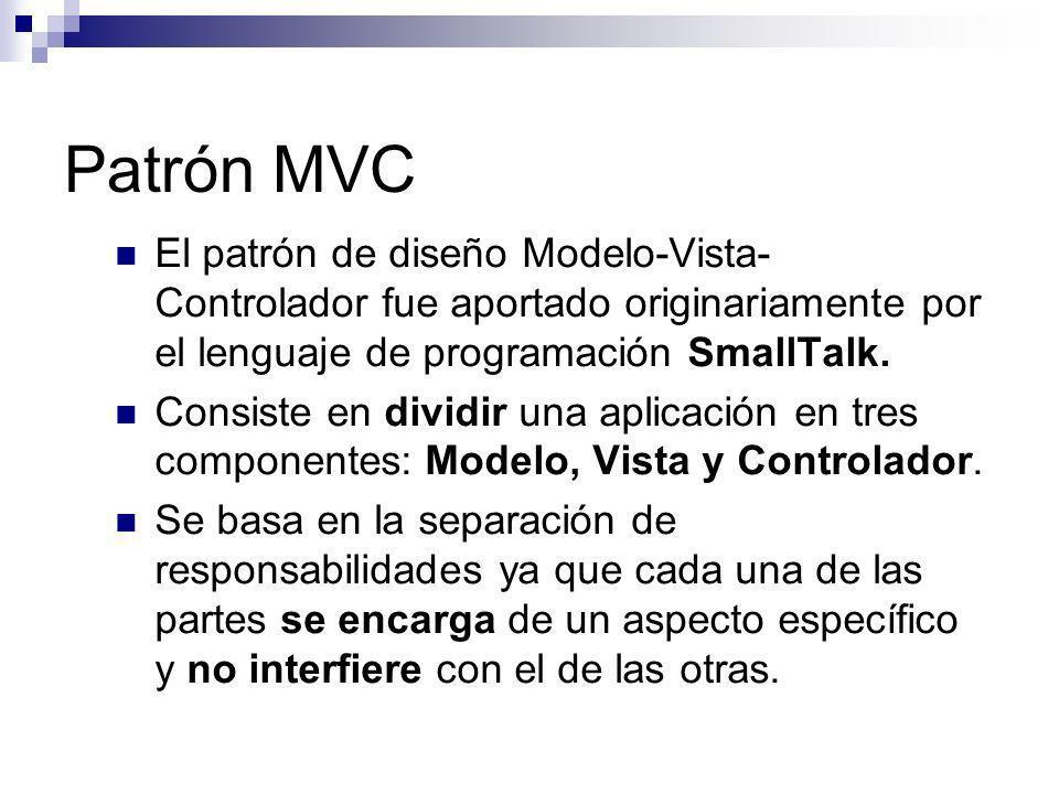 Patrón MVC El patrón de diseño Modelo-Vista- Controlador fue aportado originariamente por el lenguaje de programación SmallTalk. Consiste en dividir u