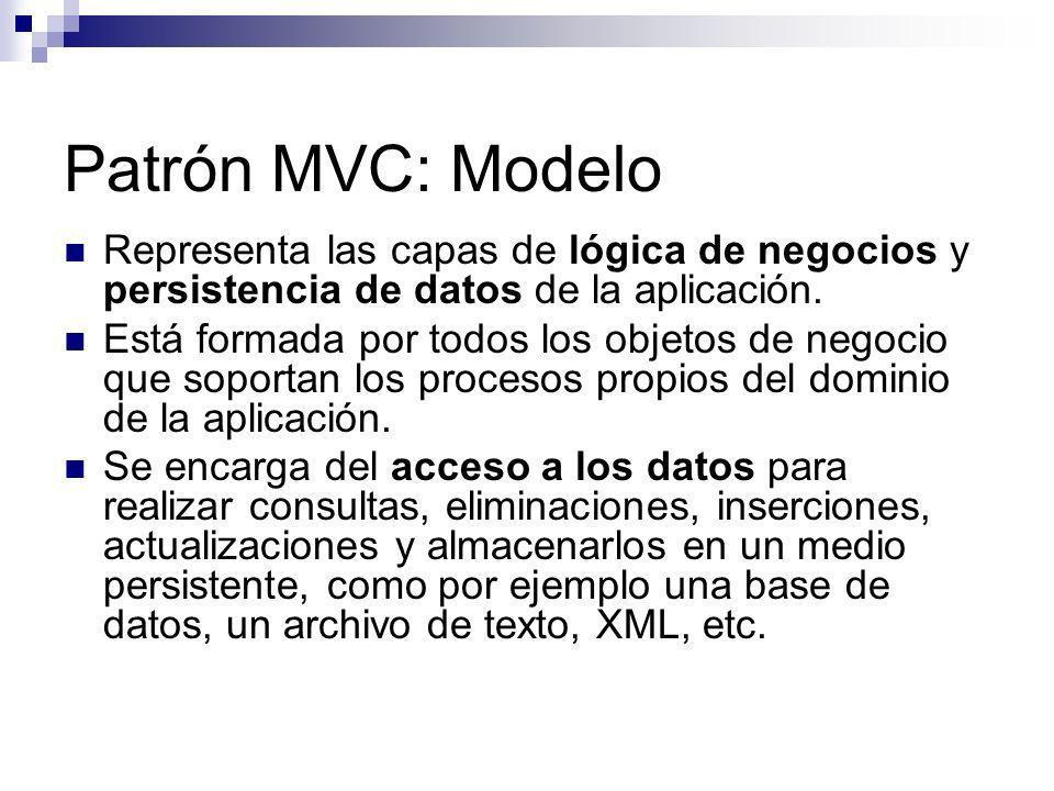 Patrón MVC: Modelo Representa las capas de lógica de negocios y persistencia de datos de la aplicación. Está formada por todos los objetos de negocio