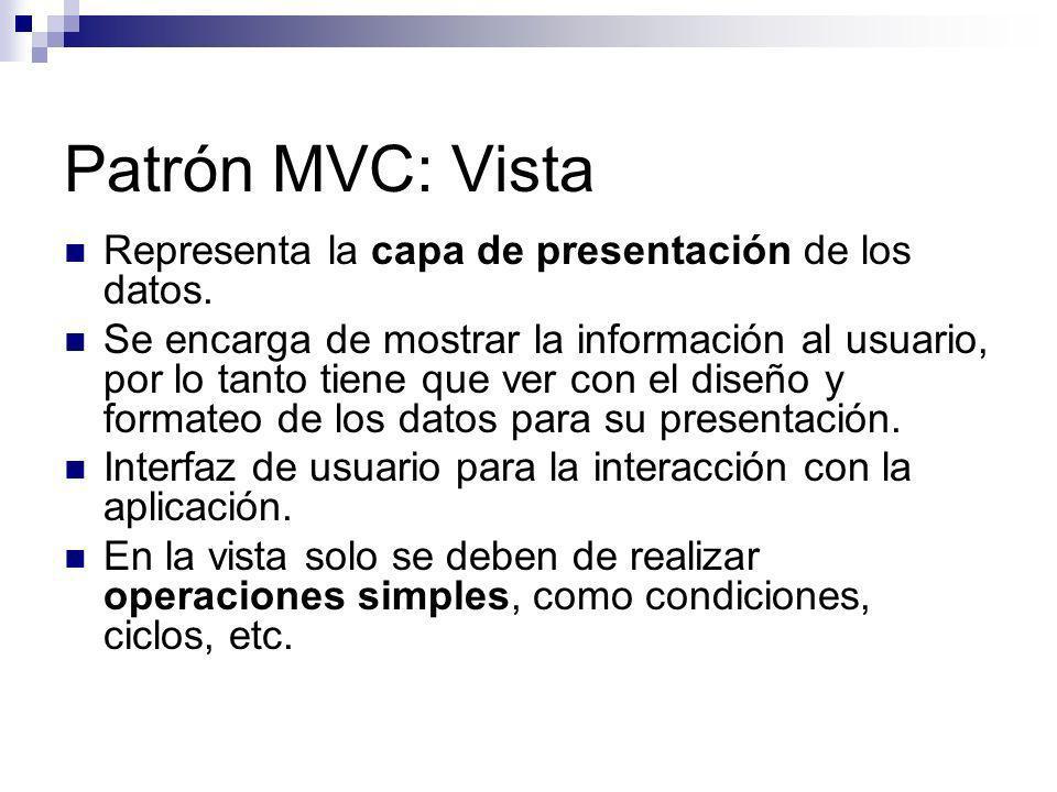Patrón MVC: Vista Representa la capa de presentación de los datos. Se encarga de mostrar la información al usuario, por lo tanto tiene que ver con el